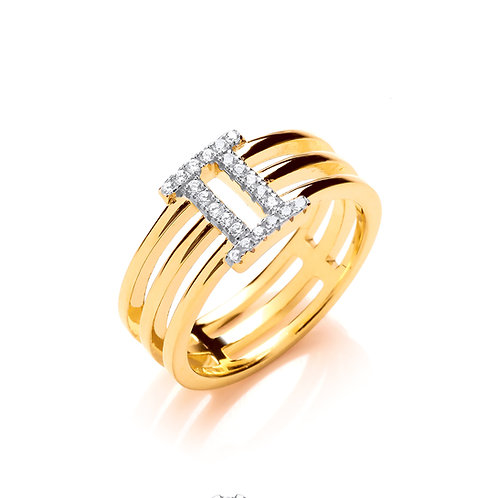 Silver Gold plated CZ Ring