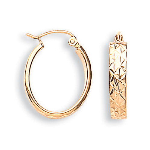 9ct Yellow Gold D/C oval  earrings