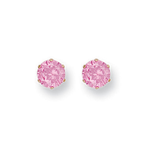 9ct Yellow Gold 4mm pink CZ studs
