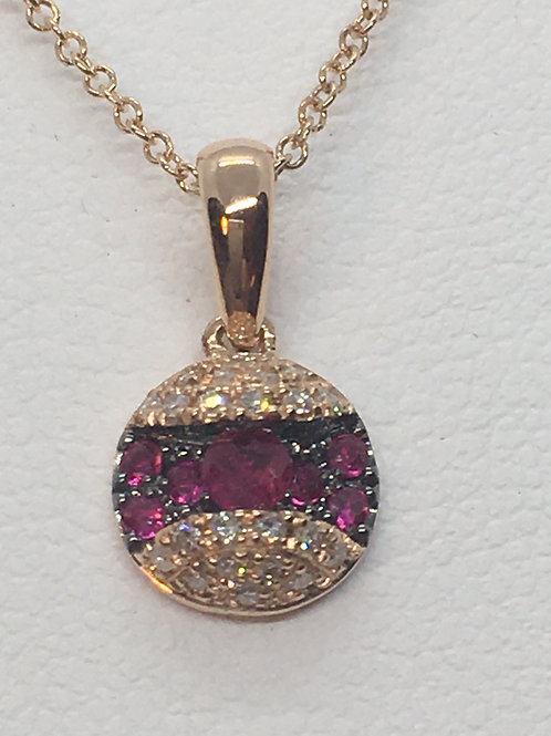 9ct Rose Gold Ruby Diamond Necklace