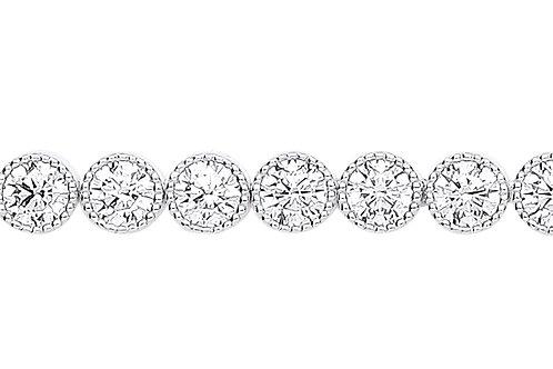 9ct White Gold CZ Ribbed Tennis Bracelet