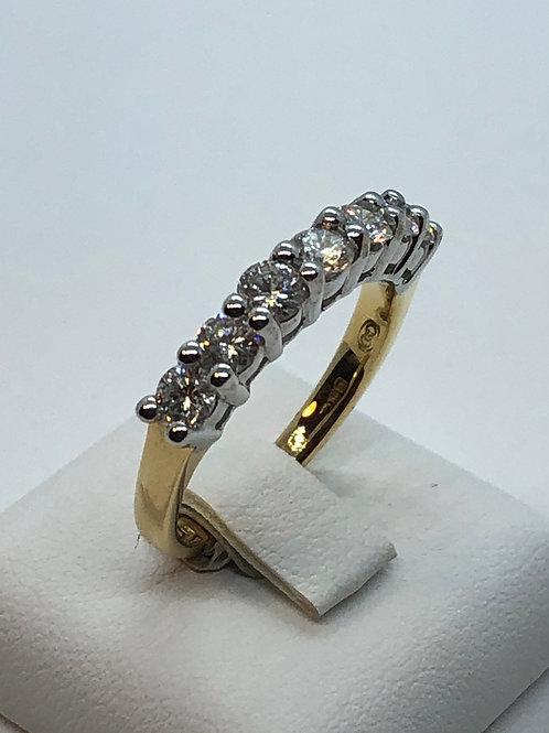 18ct Yellow Gold 7 Stone Diamond Half Eternity Ring