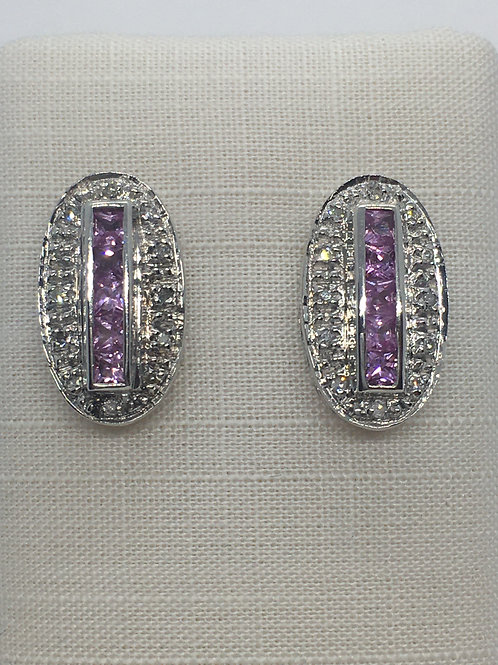 9ct White Gold Diamond Pink Sapphire Earrings