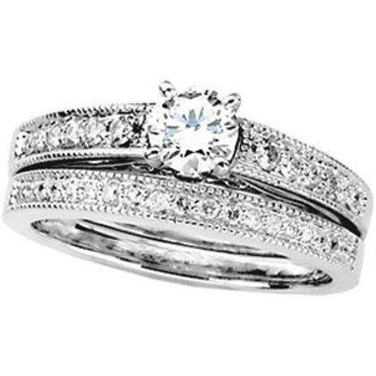 GOLD DIAMOND ENGAGEMENT RING WEDDING BAND SET