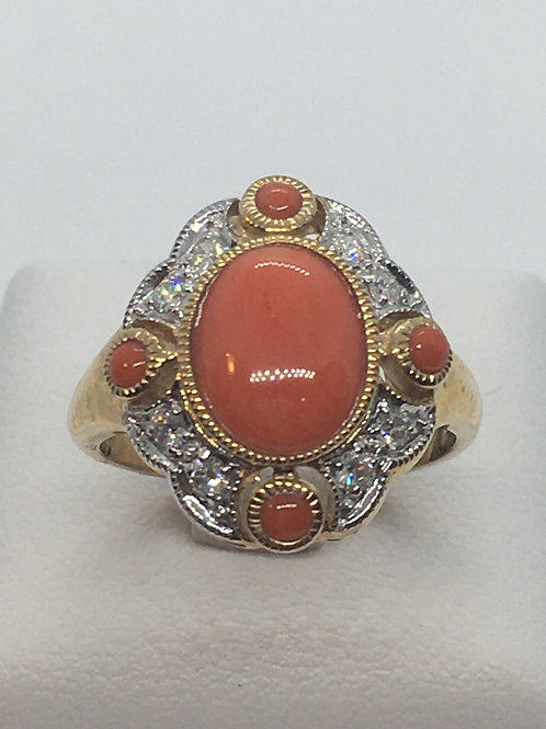 9ct Diamond Coral Ring