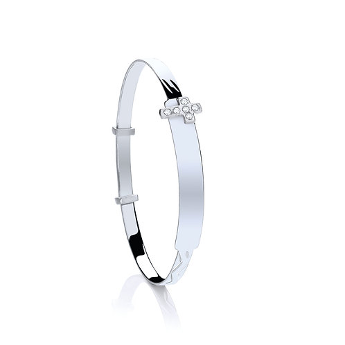 Sterling Silver Baby CZ  Cross Expandable Bangle.   le