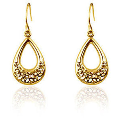 9ct Yellow Filigree Style Double Sided Dropper Ear