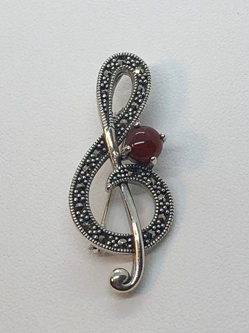 Sterling Silver Marcasite Treble Clef  Brooch/Pendant