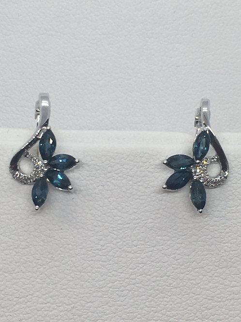 9ct White Gold Sapphire Diamond Earrings