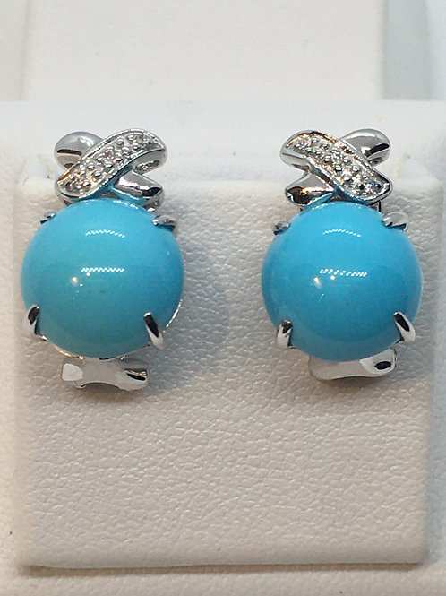 9ct White Gold Turquoise Diamond Earrings