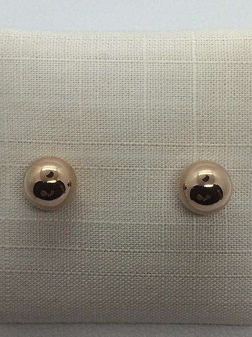 Sterling Silver Rose Gold plated Ball Earrings