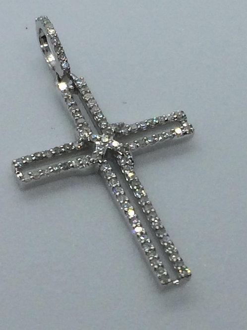 9ct White Gold Cross Diamond Cross