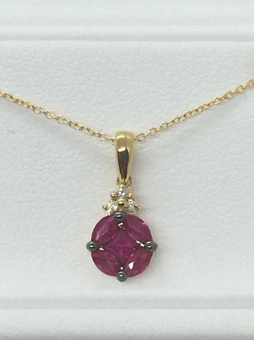 14ct Yellow Gold Ruby Necklace