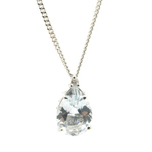 9ct Aqua & Diamond Pendant