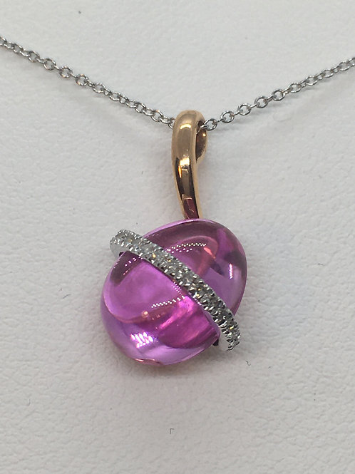 14ct Gold Pink Topaz Necklace