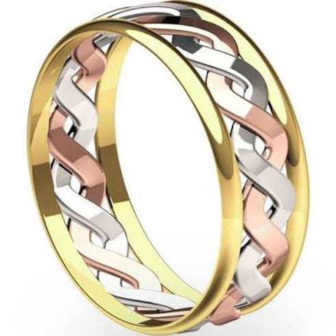 9ct Gold 3-Colour 7mm Celtic Ring