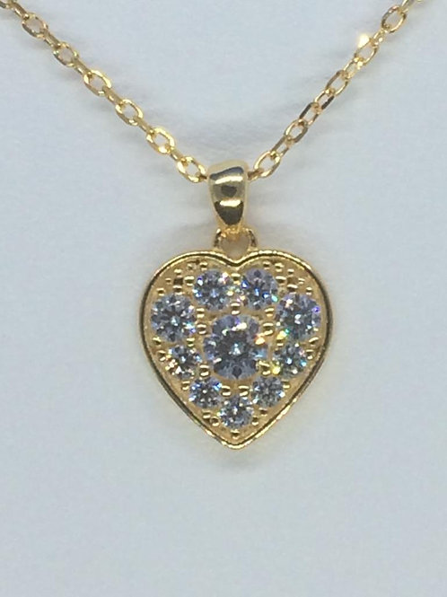 Sterling Silver Gold plated Heart Necklace