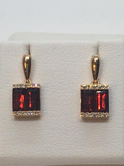 14ct Rose Gold Diamond Garnet Earrings