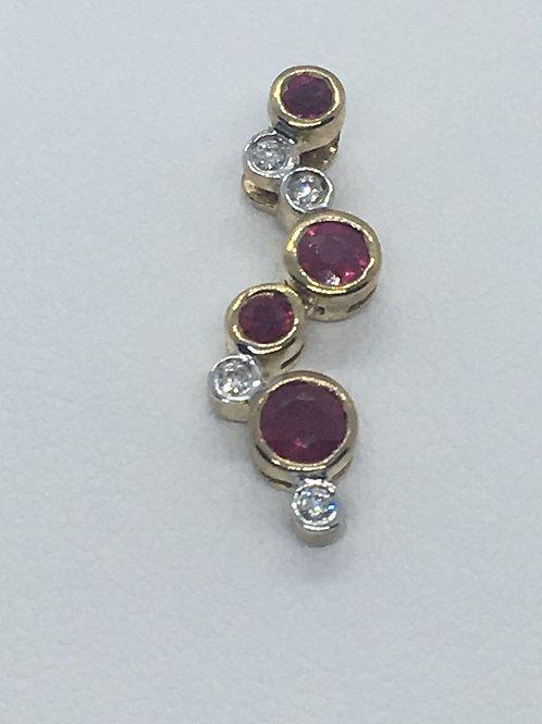9ct Yellow Gold Ruby Diamond Pendant