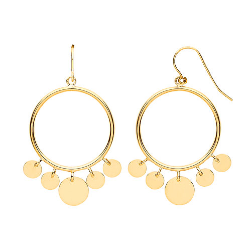 9ct yellow Gold Round tube Circle Disc Hoop Earrings
