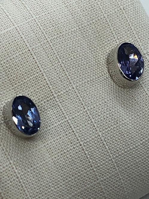 9ct White Gold Tanzanite Earrings