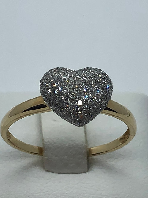 14ct Yellow Gold Diamond Heart Ring
