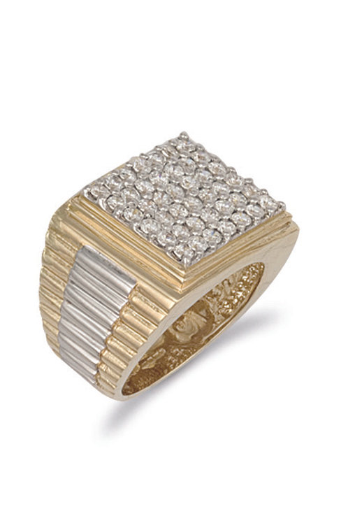 9ct yellow Gold Sq Top Gents CZ Ring