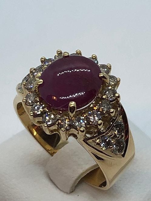 18ct Yellow Gold Ruby Diamond Ring