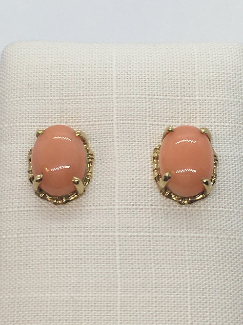 18ct Yellow Gold Coral Earrings