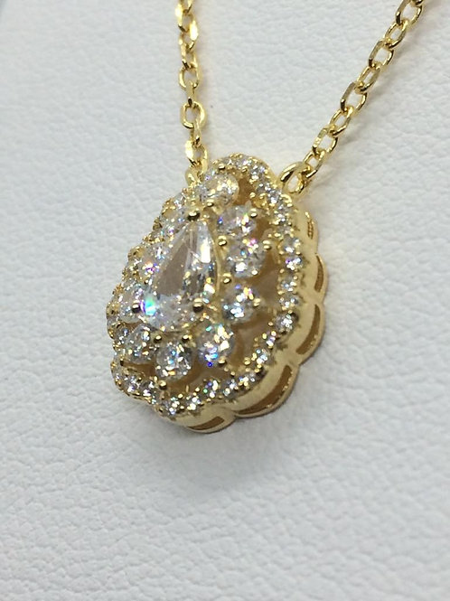 Sterling Silver Gold plated Cubic Zirconia set Pendant