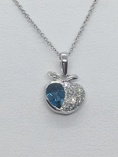 14ct White Gold Diamond Blue Topaz Necklace