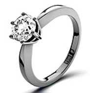 CERTIFIED 0.90CT CHLOE HIGH 18K WHITE GOLD RING