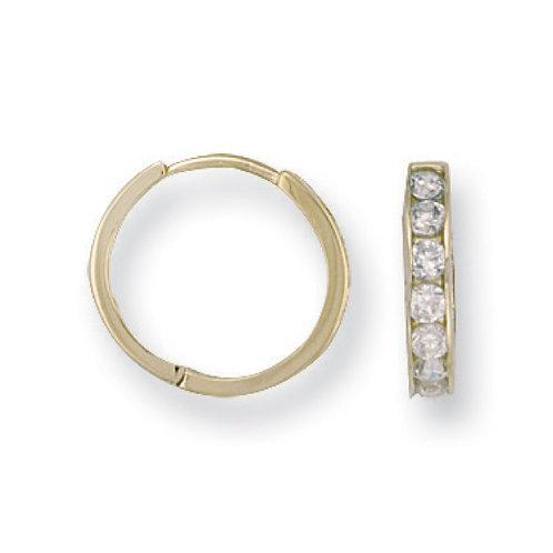 9ct yellow Gold CZ huggies Earrings