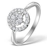 DIAMOND 0.50CT CIRCLES RING IN 18K WHITE GOLD