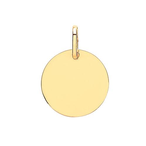 9ct yellow Gold plain round pendant