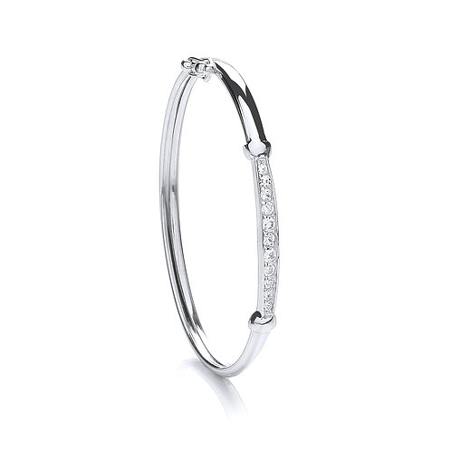 Sterling Silver  CZ  Baby Bangle
