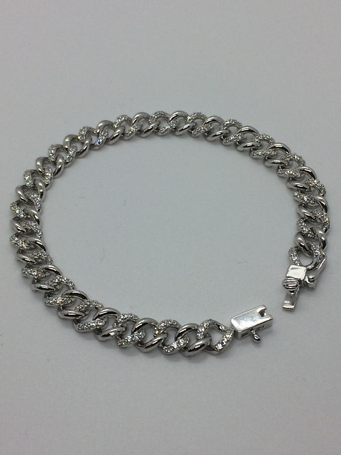 Sterling Silver Ladies Curb Bracelet set with Cubic Zirconia