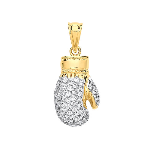 9ct yellow Gold CZ Boxing glove Pendant