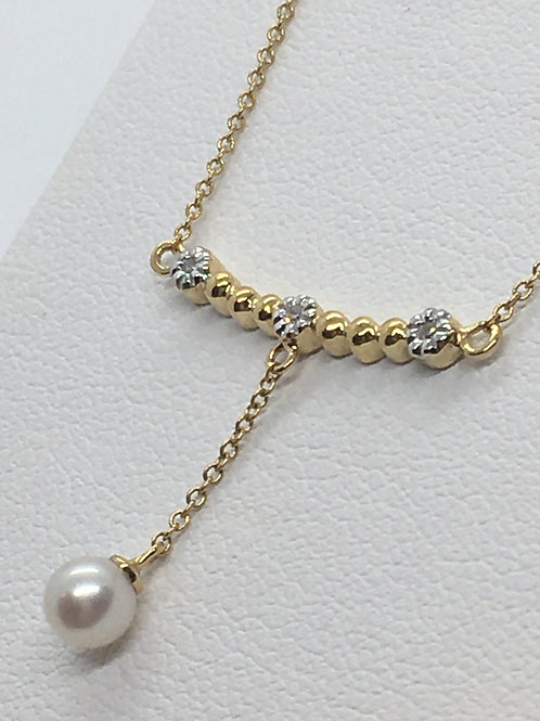 14ct Yellow Gold Pearl Diamond Necklace