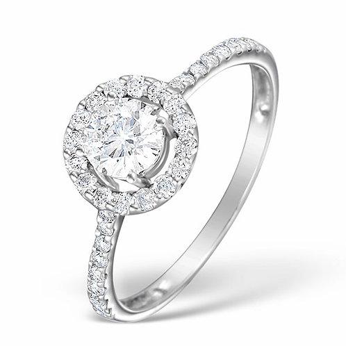 ELLA 18K WHITE GOLD DIAMOND BRILLIANT CUT RING