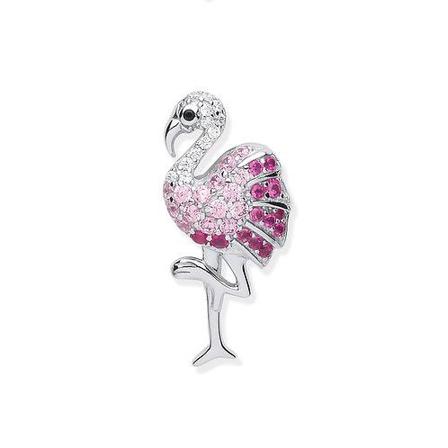 Silver CZ Flamingo Pendant