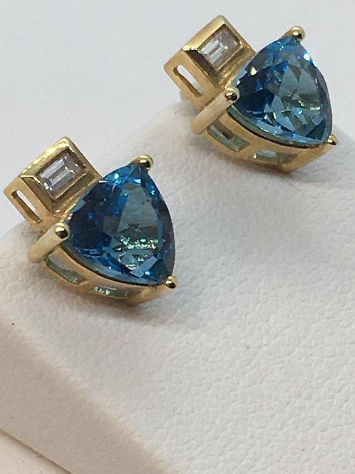 18ct Yellow Gold Diamond Blue Topaz Earrings