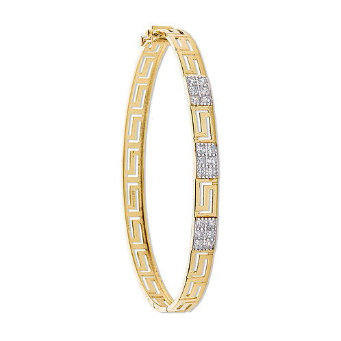 9ct yellow Gold CZ Greek Key bangle