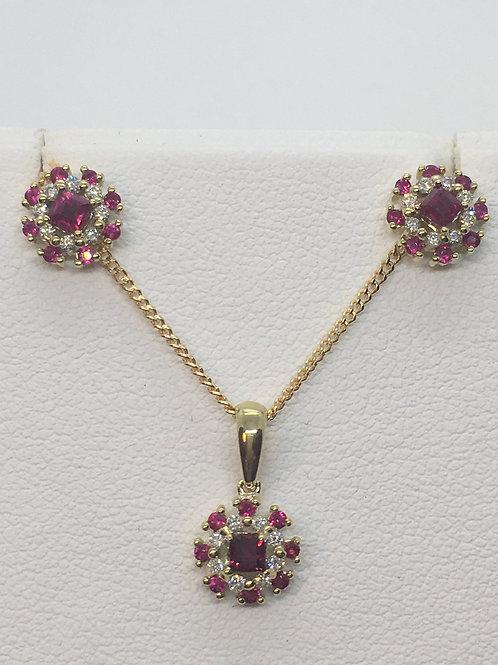 9ct Gold Ruby Diamond Set
