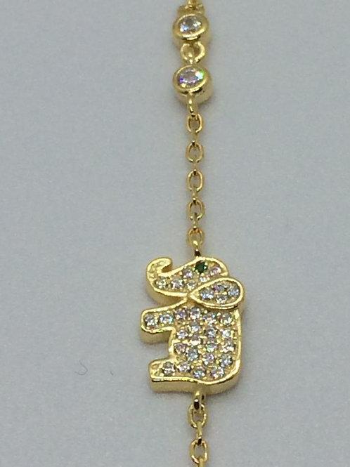 Sterling Silver Gold plated Ladies  Elephant Bracelet