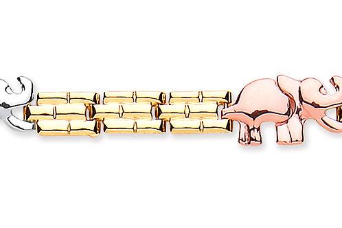 9ct  3-Colour Gold Elephant on Panther Bracelet