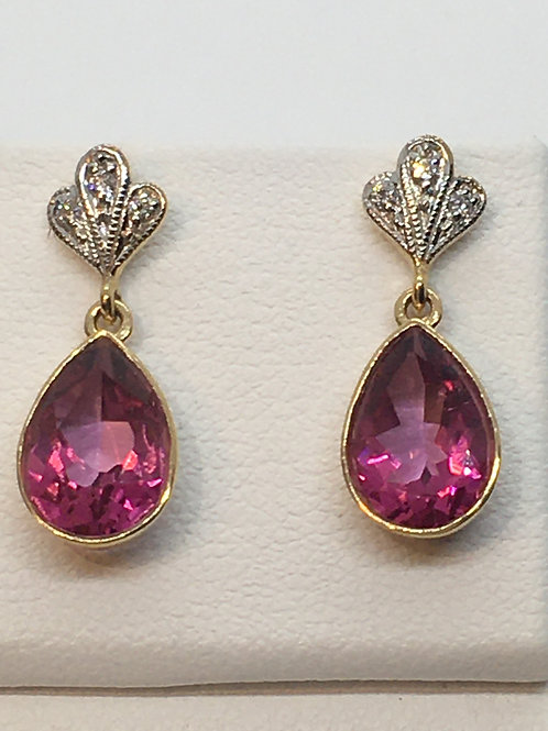 9ct Yellow Gold Pink Topaz Diamond Earrings