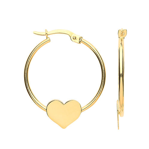 9ct yellow Gold Hoop with Heart Earrings