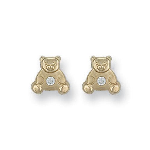 9ct yellow Gold CZ Teddy Bear Studs