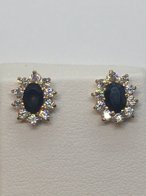 9ct Yellow Gold Sapphire and Cubic Zirconia Earrings